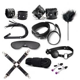 Top bondage kit fetish corda morso collare costrittivo nero frusta manette cavigliere
