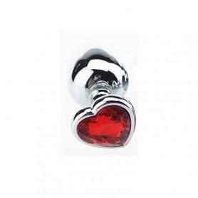 Fallo  anale in metallo acciaio dildo grande con pietra gioiello cuore rosso red plug maxi anal butt