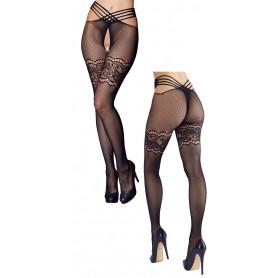 Collant sexy nero calze intimo aperto donna a rete in pizzo lingerie a rete hot