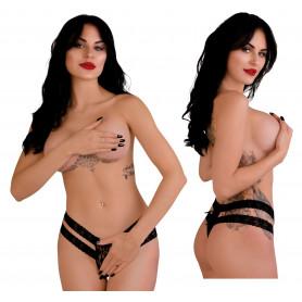 Perizoma in pizzo nero tanga intimo sexy lingerie donna mutanda a vita alta slip