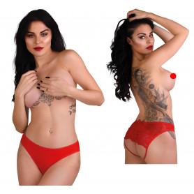 Mutanda donna intimo aperto slip sexy lingerie rosso trasparente con pizzo hot
