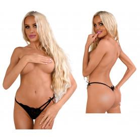 Perizoma donna nero trasparente con pizzo tanga a vita bassa sexy lingerie Black