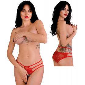 Slip donna rosso trasparente a vita alta mutanda sexy lingerie intimo aperto hot
