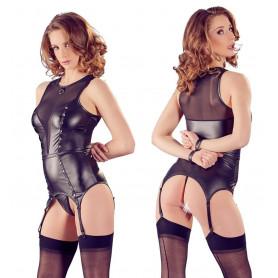 Corsetto nero con reggicalze perizoma sexy lingerie erotica bustino trasparente