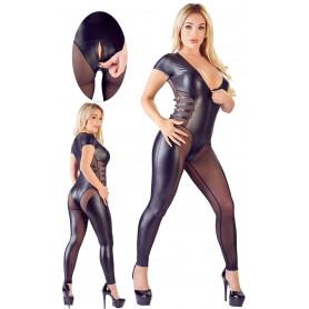 Tutina in eco pelle nera bodystocking trasparente con intimo aperto lingerie hot