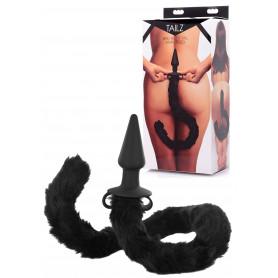 Plug anale con coda dilatatore fallo anal butt nero sex toys in silicone stimola