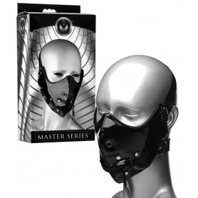 Maschera sasomaso nera costrittivo bdsm mask sex toys per giochi erotici bondage