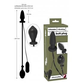 Plug anale gonfiabile vibrante in silicone nero dilatatore fallo con telecomando