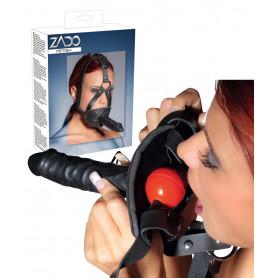 Maschera costrittiva bondage imbracatura per viso con morso e fallo realistico