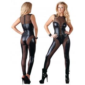 Bodystocking tutina sexy lingerie donna elegante intimo aperto nero trasparente