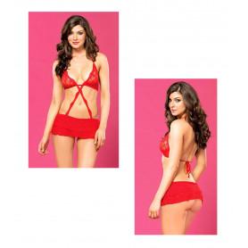 Abito micro donna sexy in pizzo rosso lingerie erotica reggiseno mini gonna hot