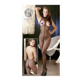 Catsuit sexy donna fishnet a rete seno e intimo aperto bodystocking nero tutina