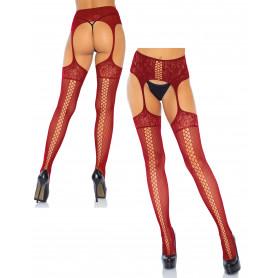 Collant sexy donna calze in nylon a rete con reggicalze in pizzo rossi lingerie