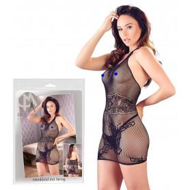 Mini abito donna sexy vestitino a rete e pizzo trasparente erotico aderente nero