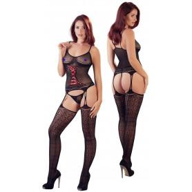 Bodystocking nero trasparente sexy guepiere con perizoma reggicalze e calze hot