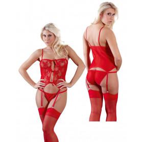 Guepiere rossa in pizzo trasparente sexy corsetto donna con reggicalze e slip