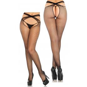 Collant in nylon neri donna sexy lingerie erotica calze cavallo aperto vita alta