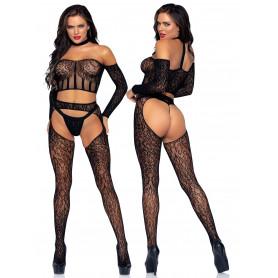 Bodystocking a rete nero trasparente set lingerie erotica top perizoma calze hot