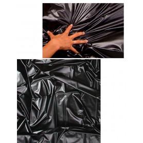 Coprimaterasso nero copriletto matrimoniale in lattice per massaggi con olio