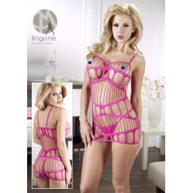 Mini abito sexy donna rosa vestitino hot erotico aderente a rete seno aperto