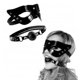 Kit bondage maschera morso bdsm costrittivo nero gagball sexy mistress restraint