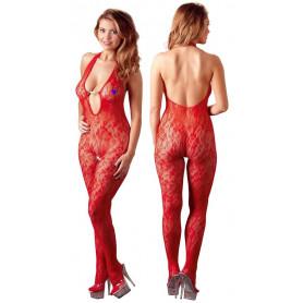 Tutina sexy donna bodystocking in pizzo rosso trasparente intimo aperto elegante