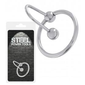 Anello fallico in acciaio con blocca sperma bondage stimolatore cock ring bdsm