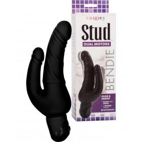 Vibratore realistico doppio fallo dildo pene finto vibrante vaginale anale nero