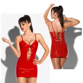 Vestitino sexy donna hot mini abito da discoteca tubino aderente rosso erotico