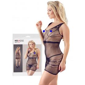 Vestitino sexy donna mini abito erotico tubino aderente a rete nero trasparente