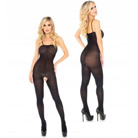 Bodystocking velato a rete sexy intimo aperto lingerie erotica fishnet nero hot